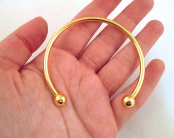 One Gold Plated Torque Bracelet, Bangle Bracelet w/ Removable Twist End Beads, Adjustable F128