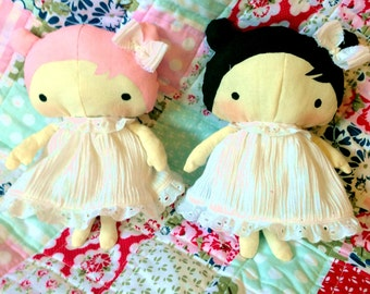 LUCY rag doll handmade art doll baby doll in dress great baby shower gift birthday present personalizations available made to order plush