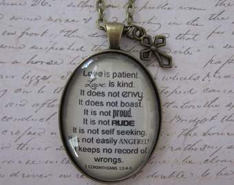 1 Corinthians 13:4-5 Love Is Patient Love Is Kind Vintage Cream Glass Pendant Necklace With Gold Cross Charm