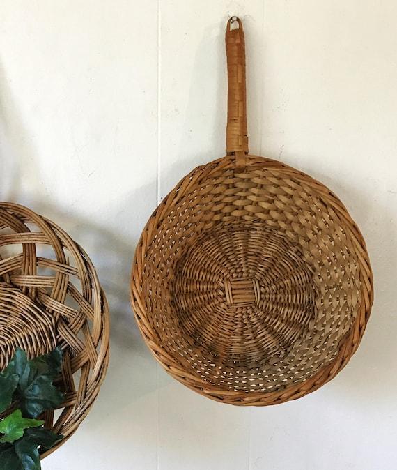 wicker scoop basket - woven brown rattan wall basket - boho farmhouse wall decor
