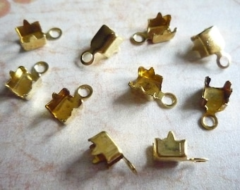 Brass Rhinestone Chain Connectors Crimps 5mm Size for 4mm Size Chain - Qty 10