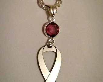 Lupus Necklace - Awareness Ribbon on silver plated link chain