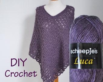 DIY Crochet Kit, Crochet Poncho kit, PRIYA, yarn and pattern