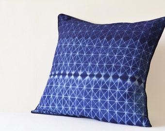 Graphic Indigo Japanese Shibori Pillow Cover , Indigo Blue Colored Shibori Cushion Cover , Indigo Shibori Pillow , Navy Tie and Dye Pillow