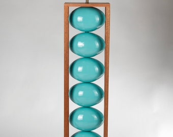 Turquoise ceramic and wood Floor Lamp