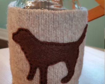 Upcycled wool sweater mason jar cozy; pint size- oatmeal with black lab