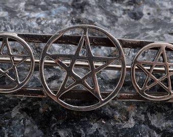 Sterling silver Pentagram brooch pin handmade 925