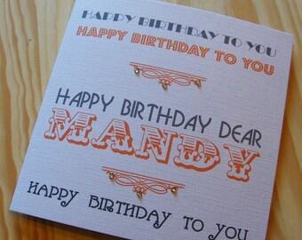 Birthday Handmade Personalised Card - Male-Female - Happy Birthday to you