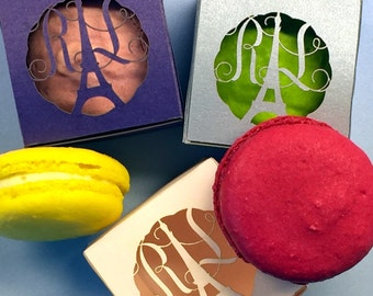 French Macaroon Favor Box - Holds 1 Macaron