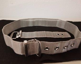 Vintage mesh  belt and bracelet set, mesh belt, silver mesh bracelet, vintage jewelry, costume jewelry, steam punk, metal jewelry, retro