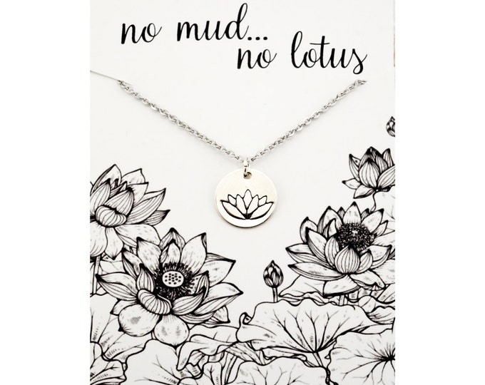 No mud no lotus necklace - yoga inspired jewelry, jewelry for yoga - sterling silver lotus necklace, silver lotus jewelry, lotus jewelry set