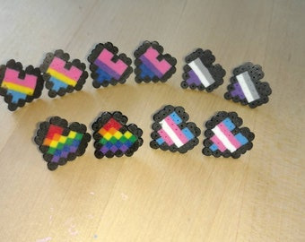Pride Heart Pixel Sprite Post Earrings