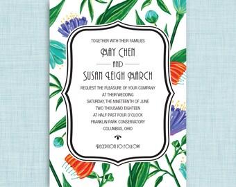 Printable Wedding Invitation • Bright Garden Flowers