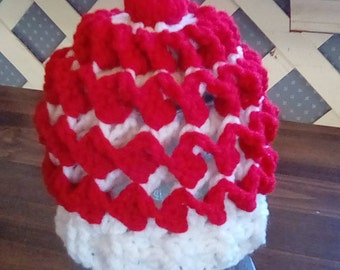 Red and White Reversible Infant Hat