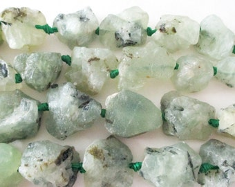 Green Quartz Nugget Beads - Chunky Raw Rough Rock Beads - Unpolished Nugget Gemstone Bead - Center Drilled -7 Pcs - Diy Focal Necklace Beads