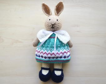 Knitted Easter Rabbit Hand Knit Easter Bunny Girl Soft Toy Little Cotton Dress Cute Stuffed Animal Mother's Day Gift Collectible Toy