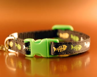 Halloween Cat Collar Fish Bone with Green Buckle and Fish Charm