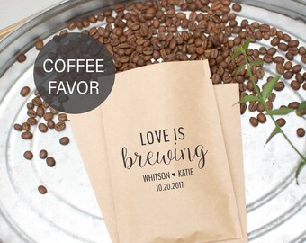 Summer Wedding Favors - Love is Brewing - Coffee Wedding Favors - Bridal Shower Favors - Rustic Wedding Favors - Coffee Favor Bags