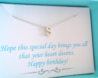 Happy Birthday Necklace, Happy Birthday Card Necklace, Card Necklace, Silver Initial Necklace, Gift Necklace, Happy Birthday Jewellery