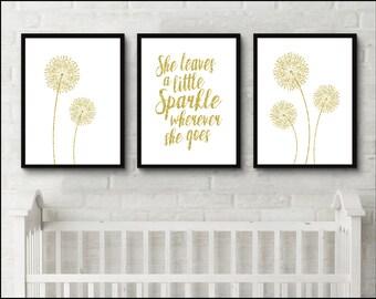 Dandelion wall art girl nursery print set of 3 She leaves a little sparkle wherever she goes prints gold glitter Wall Art