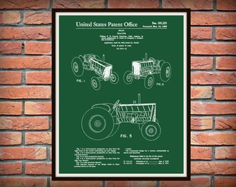 1959 John Deere Tractor Patent Designed by William Purcell - Art Print - Poster - Agriculture Art - Farmhouse Decor - Farming Print