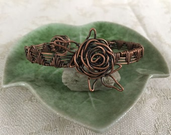 Copper Rose Bracelet -- Wire Weave - Wire Wrap - OOAK - Copper Jewelry -- Handmade - Copper Wire Weave