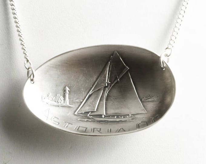 Sailboat Pendant, Sterling Silver Spoon Necklace, Oregon Necklace, Astoria Souvenir, Sailing Boat Pendant, Nautical Gift, Full Sail (6830)