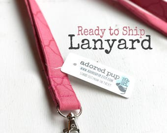 FABRIC LANYARD!!  READY to Ship!! Fabric Lanyard with Swivel Clasp - Shabby Chic, Coral Lanyard, Great Teacher Gift