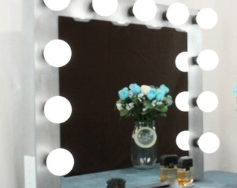 XL Silver Hollywood style Vanity Mirror with Lights Handmade