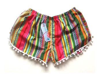 Red Aztec Stripe Print Pom Pom Shorts