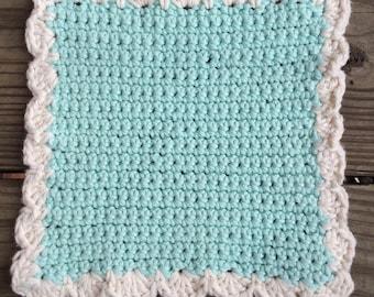 Large Cotton Dishcloth - Scallop-Edge Crochet Washcloth