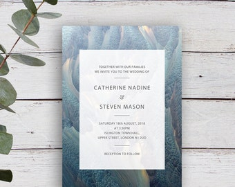 Ethereal Printable Contemporary Abstract Wedding Invitation
