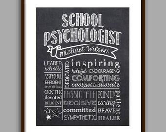 School Psychologist Gift, Psychologist Chalkboard Style Printable, Psychologist Christmas Gift Thank You, School Psychologist Gift Printable