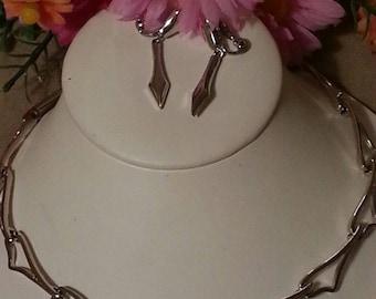 MONET Choker Necklace and Earrings, Silver, Signed Designer, Unique Pattern, MONET Designer Earrings and Necklace Vintage Set