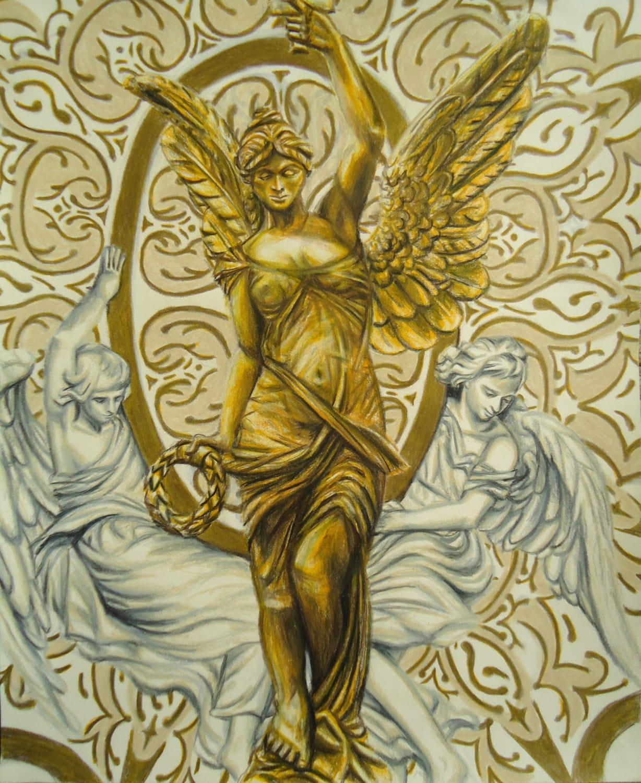 Original Angel artwork Colored pencil drawing European