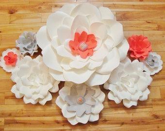 Set of 8 Flowers - Paper Flowers   Baby Nursery Decor   Paper Flower Backdrop   Wedding Flowers   Paper Flower Wall   Paper Flower Art