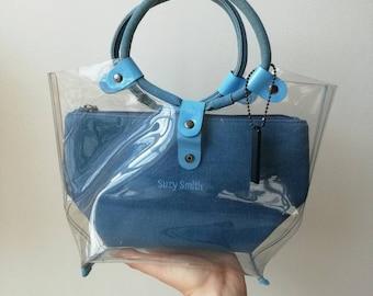 Vintage Y2K/1990s Clear PVC & Denim Bag