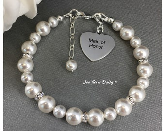 Gift for Maid of Honor Bracelet Swarovski Bracelet Wedding Jewelry Bridal Party Jewelry Charm Bracelet Gift for Her