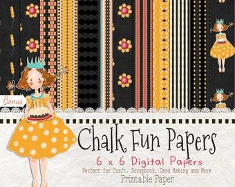 Chalk Paper, Chalkboard paper, Chalk Fun Paper, Yellow Dress Girl, Printable paper, Instant Download, Scrapbook Paper, 6x6 paper
