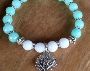 Tree of life jade gemstone healing yoga bracelet.