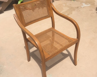 Vintage Mid Century Bentwood Cane Oak Accent Chair. Thonet style.