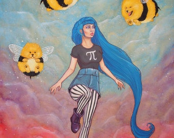 PRINT Flight of the Pomblebees painting 8 x 10 inch print
