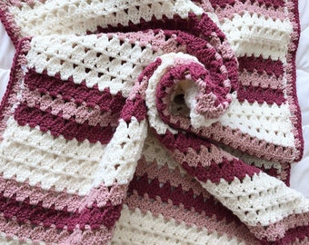 Crochet baby blanket, rose pink and ivory baby blanket, modern baby blanket, knit afghan, knit baby blanket