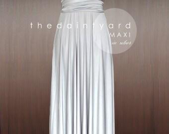 MAXI Silver Bridesmaid Dress Convertible Dress Infinity Dress Multiway Dress Wrap Dress Wedding Dress Full Length Prom Dress Twist Wrap