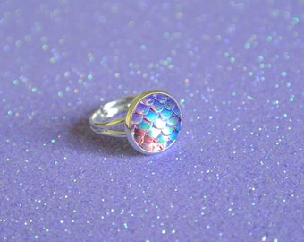 Lilac Purple Mermaid Scale Iridescent Silver Ring / Kawaii Cute Dainty Adjustable Silver Plated