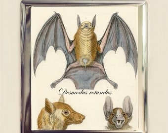 Victorian Bat Cigarette Case Business Card ID Holder Wallet Bats Goth Gothic Animal Art