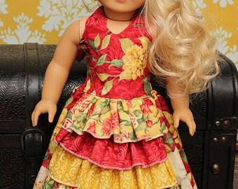 """Penelope's 18"""" Doll Princess Ruffle Dress PDF Pattern"""