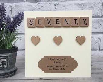 70th Birthday Card, Personalised 70th Birthday Card, 70th Birthday Scrabble Card, 70th Birthday Milestone Card
