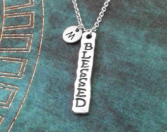 Blessed Necklace Stamped Jewelry Blessed Jewelry Tag Necklace Blessed Pendant Necklace Christian Charm Necklace Religious Jewelry Spiritual