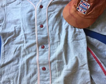 Vintage youth baseball uniform jersey hat pants wool flannel junior little league